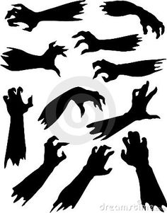 Scary Zombie Hands Silhouettes Set. Royalty Free Stock Image - Image: 21146716