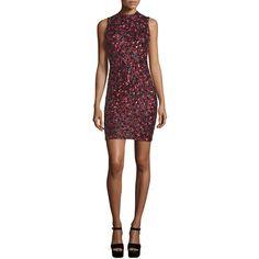Alice + Olivia Rosalee Embellished Mock-Neck Mini Dress ($895) ❤ liked on Polyvore featuring dresses, multi colors, lining dress, form fitting dresses, embellished dress, short dresses and colorful dresses