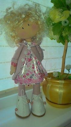 Fabric doll-textile doll-white hair-art by WonderfulTilda on Etsy