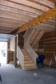 x 2 Story Gambrel Pole Barn :: the stairs on one side. could put kitchen on otherside. Pole Barn House Plans, Pole Barn Homes, Small House Plans, Garage Construction, Pole Buildings, Gambrel, Diy Shed, Shed Plans, Woodworking Projects Plans