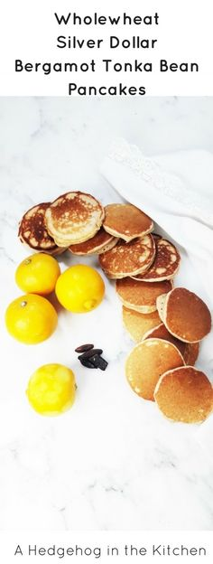 Wholewheat silver dollar bergamot tonka bean pancakes with just 7 ingredients are healthy, wholesome and fluffy. Bursting with the flavor of tart bergamot lemon and rich and nutty tonka bean. | ahedgehoginthekitchen.com