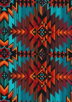 fabric - Sunset Geometric on Turquoise by Timeless Treasures Fabrics Southwestern design geometric shapes in turquoise, brown, and orange. By Timeless Treasures Fabrics. west c7510 turq