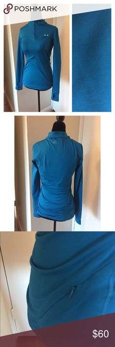 Deep blue quarter zip long sleeve top Like new! Perfect layer underneath your clothes! This top features a side pocket, thumb holes and quarter zip. Under Armour Tops Tees - Long Sleeve