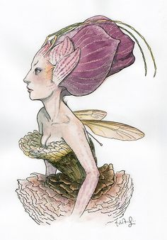"""Orchid Faced Sprite"" pen, ink, & acryligouache on paper  12 x 9"" by Tony DiTerlizzi. Available at the R. Michelson Galleries"