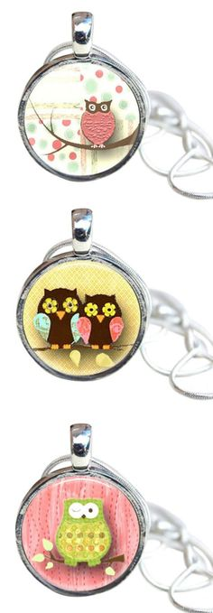 """Owls """"MAGNETIC Interchangeable Necklace  - Includes chain, magnetic pendant base and toppers."""