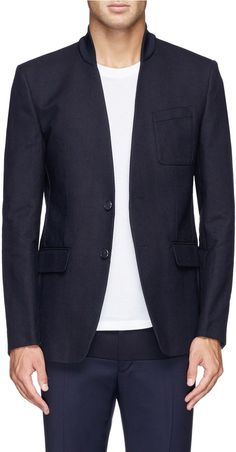 $1,615, Rib Collar Cotton Twill Blazer by Givenchy. Sold by Lane Crawford. Click for more info: http://lookastic.com/men/shop_items/202422/redirect