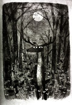 "Ilustración de John Klassen, titulada ""Moon deer"""