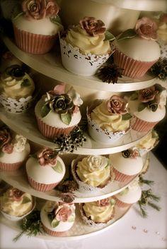Vintage Rose Wedding Cupcakes | by ConsumedbyCake
