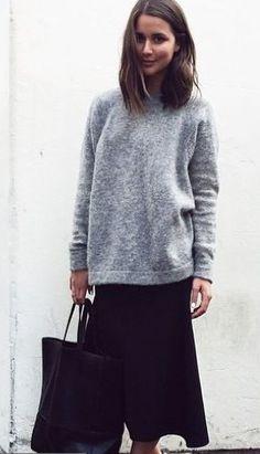 Maxi skirt & sweater winter layering
