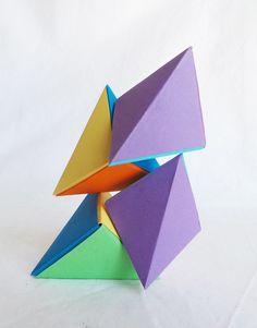 Casse tête Magnet Petit format en Origami: Les Tétraèdres magnétiques, multicolore bleu et violet