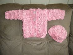 Cardigan and hat I crocheted for American Girl Doll
