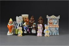 Punch and Judy china figures: including Paragon Mr Punch and Judy toby jugs - high Punch And Judy, Traditional Toys, The Saleroom, Theatre, Auction, Teddy Bear, China, Candles, Dolls