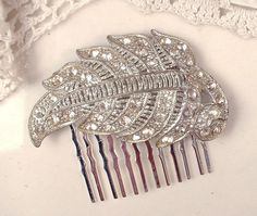 Original 1920s Art Deco / Nouveau Rhinestone Bridal Hair Comb, Antique Clear Pave Silver Leaf Dress Clip Accessory, Gatsby Flapper Headpiece by AmoreTreasure