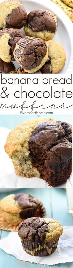 Banana Bread & Chocolate Muffins ~ these sweet, moist, bakery-style muffins combine half plain banana batter and half chocolate banana batter for a perfect breakfast or snack! | FiveHeartHome.com
