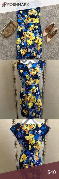 HP Donna Ricco multicolored sheath dress Donna Rico New York size blue and yellow dress 34 inches from shoulder to hem. Shell made of 97% cotton 3% spandex lining 100% polyester Donna Ricco Dresses