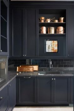 43 Wonderful Dark Grey Design Ideas For Kitchen - Painting your kitchen with bright colours is a cost effective way to bring a dramatic change to the space. You can use complementary colours on the wa...