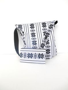 Large Purse White and Black Mexican Fabric Aztec от DonnaDesigned