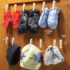 Closet Glove Rack - If you don't have radiators, finding a good spot to dry wet hats and mittens can be tough. Tossing them into a plastic bin gets them out of the way, but they never dry and it's no fun putting on damp mittens in the morning. This simple back-of-the-door glove and cap rack allows wet things to dry and keeps easily misplaced items organized. Just string clothespins on aluminum wire (it won't rust) and stretch it between screw eyes on the back of a closet door. This also…