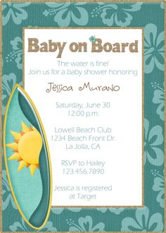 Beach Themed Baby Shower Invitation by jaebirddesign on Etsy
