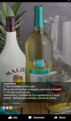 Dessert Drinks, Bar Drinks, Alcoholic Drinks, Beverages, Desserts, Wine Cocktails, Cocktail Drinks, Malibu Rum Drinks, Moscato Sangria