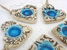 Ceramic ornament OOAK stone look heart