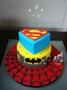 Ethan LOVES this cake - has named EVERY super hero to add. At his rate, it will be a 10 tier cake!