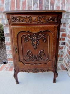 Antique French Country Carved Oak Jam Cabinet Cupboard Wine Cabinet Chest Table  #FrenchCountryProvincial