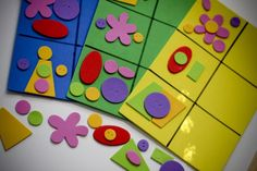 Foam Shape Puzzles - left side is glued on, child is provided with same pieces so that they can replicate puzzle. Awesome!!  CHURCH quiet time activity for Sundays with no Children's Church...  Toddler Busy Bags Final-18
