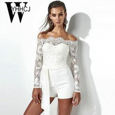 f55a1e6db0b WYHHCJ 2018 sexy backless women playsuit off shoulder long sleeve sashes  summer jumpsuit skinny lace patchwork women bodysuit