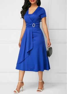 Asymmetric Hem V Neck Royal Blue Dress | Rosewe.com - USD $31.88