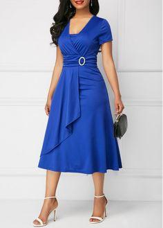 Asymmetric Hem Royal Blue Short Sleeve Dress | modlily.com - USD $33.69
