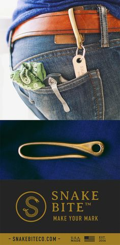 The Snake Hook Key Loop - Solid Hand Finished Brass - 100% made in the USA.  Great holiday gift with free shipping!