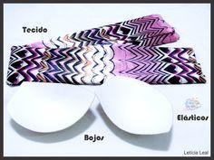 4 biquinis diferentes feito com lenço, elástico e bojo.