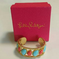Lilly Pulitzer Cuff Bracelet. (NEW WITH BOX) Goldtone cuff with blue and coral stones, Lilly Pulitzer Jewelry Bracelets