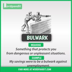 Meaning of Bulwark explained through a picture. Bulwark means 'a wall of earth or other material built for defense; Slang English, English Idioms, English Phrases, English Lessons, English Grammar, Good Vocabulary Words, Grammar And Vocabulary, Vocabulary Journal, Beautiful Words In English