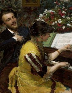 Ujrzałem raz - scena przy fortepianie - Leon Wyczółkowski