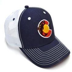 Trout Colorado Flag Trucker Hat - NAVY-WHITE
