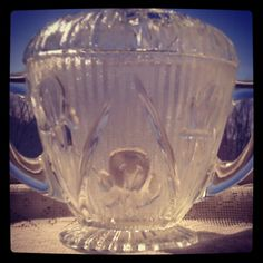 "Vintage Depression Glass 1928 - 1932 Sugar Bowl By Jeannette Glass Co. -  ""Iris"" or ""Iris and Herringbone"""