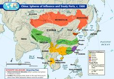 Map of China: Spheres of Influence and Treaty Ports, c. 1900