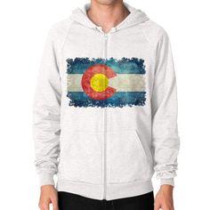 Flag of Colorado in vintage retro style Zip Hoodie (on man)