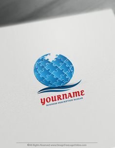Make a Puzzle Globe logo for free in minutes. Easily create a Logo with the best online Logo Maker. Design your own cool logo ideas now 3d Logo, How To Make Logo, Create A Logo, Vintage Logo Design, Custom Logo Design, Logo Maker, Puzzle Logo, Free Logo Creator, Business Logo Design