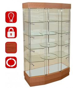 1200mm Revolving Wooden Glass and Storage Display Cabinet-rp-5015-31