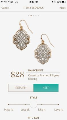 Bancroft Cazzette Filigree earring.  Stitch fix
