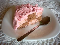 My version of a Rose Cake recipe found at iambaker.net;  For me - butter-cream is much too sweet - any light alternatives for it?