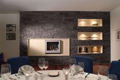 Steinwand Wohnzimmer Modern Im Wanddeko Mit Verblendsteinen