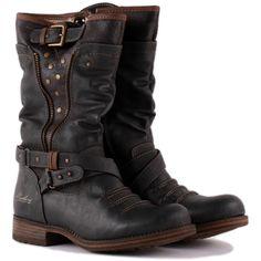 Mustang 1139 609 20 Womens Biker Boots in Dark Grey Bootie Boots, Shoe Boots, Shoes Heels, Grey Shoes, Womens Biker Boots, Biker Boots Outfit, Biker Chick Outfit, Motorcycle Boots Women, Cowgirl Boots