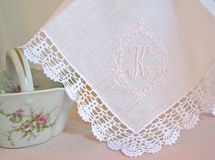 Princes Border Design 1-Initial Monogram on Crochet by linenwhites