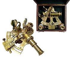 Other Maritime Antiques Antique Nautical Working German Marine Sextant W/ Wooden Box Brass Sextant Gift Large Assortment