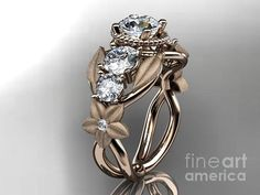 Rose Gold Diamond Floral Leaf And Vine Wedding Ring Engagement Ring Wedding Band  Jewelry
