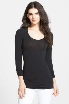 6631aef87 New Splendid First Layer Women's Scoop Neck Long Sleeve Black T-Shirt/Tee/